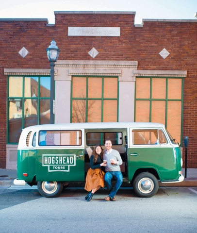 Hogshead Tours van with creators Lora and Dustin Murphy, of Fayetteville