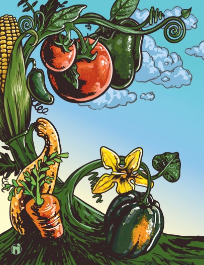illustration of peppers, tomatoes, corn, squash, zucchini and carrots all connected