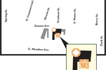 street map of black apple crossing taproom location