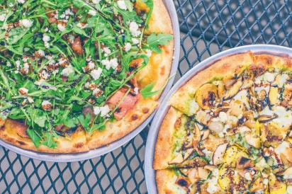 T.H.I.S.S.S. (Tangy, Herby, Infused, Spicy, Salty, and Sweet) pizza and Grilled Garden pizza