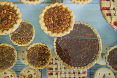 ampling of 5-inch and 10-inch pies on display