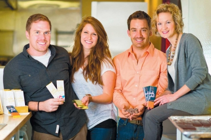 Hello Cocoa co-founders Charles and Abby Davidson and Preston and Abby Stewart display their locally crafted chocolates