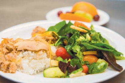 chicken and rice with a fresh green salad, and fruit for dessert