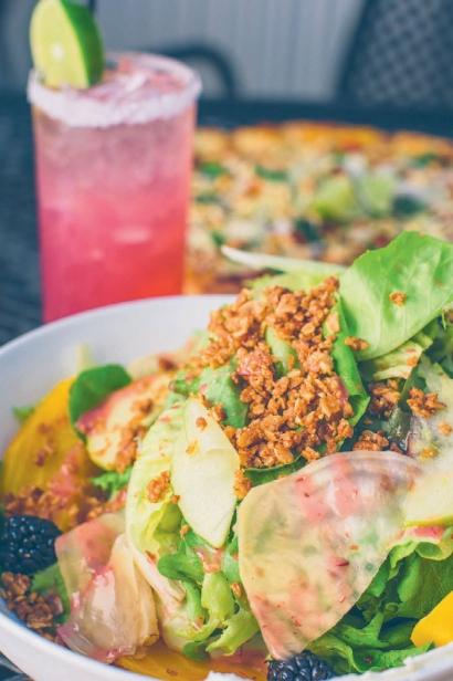 beet salad and a pomegranate margarita
