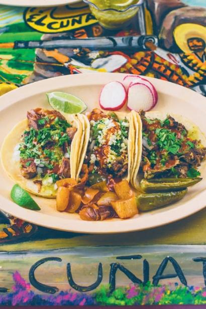 Cuñado's suadero, alambre, and lengua tacos