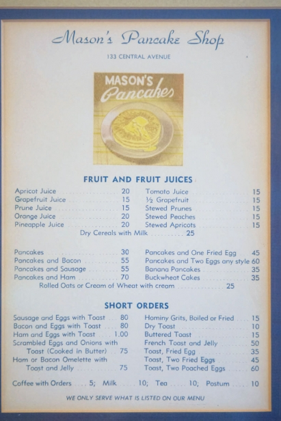 The pancake shop menu