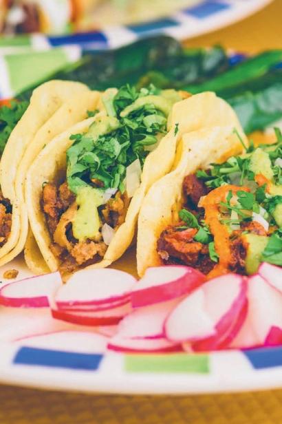 Taqueria Mexico tacos from left to right: al pastor, tripa, asada.